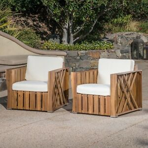 Details About Edward Outdoor Acacia Wood Club Chairs With Water Resistant  Cushions (Set Of 2)