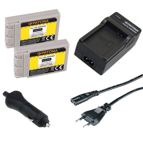 2x Batteria Patona caricabatteria casa//auto per Konica Revio KD-400Z,KD-410Z
