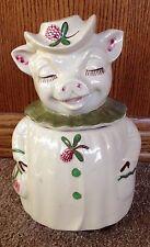 "Shawnee Pottery Winnie Pig ""Clover Bloom"" Cookie Jar - Green Buttons & Pink Buds"