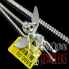 Real Diamond Solid White Gold Finish Mini Angel Piece Pendant Charm Chain Set