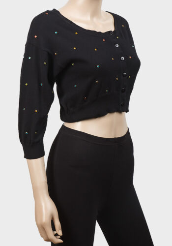 Love to Knit Ladies Diamante Studded Black Cropped Cardigan Sizes 10 12 14 16 18