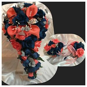 21 Piece Package Bridal Bouquet Silk Wedding Flowers Navy Blue Coral