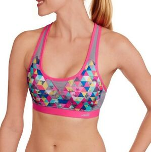 2875497e47 NEW Womens Avia Pink Print Matrix Active Sports Bra Celestial Jumble ...