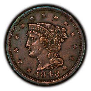 1848 1c Braided Hair Large Cent - AU Details - SKU-Y2782