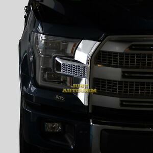 Front-bumper-headlight-amp-grille-Chrome-Cover-trim-for-15-17-Ford-F150-Accessories