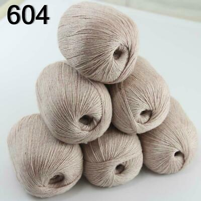 Hot 6balls x 50g Pure Color 100/% Cashmere DIY Hand Knitting Needle Wool Yarn 09