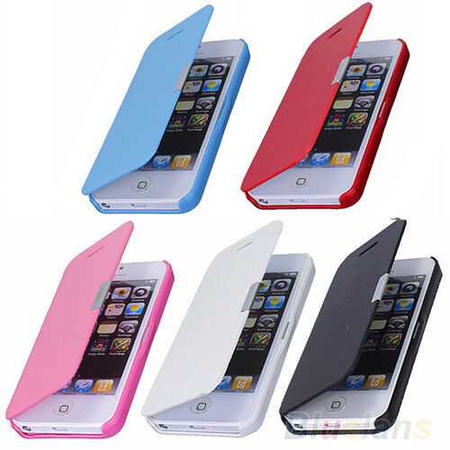 SLEEK GROOVY MAGNETIC FLIP FAUX LEATHER WALLET CASE COVER FOR APPLE IPHONE 5S 5G