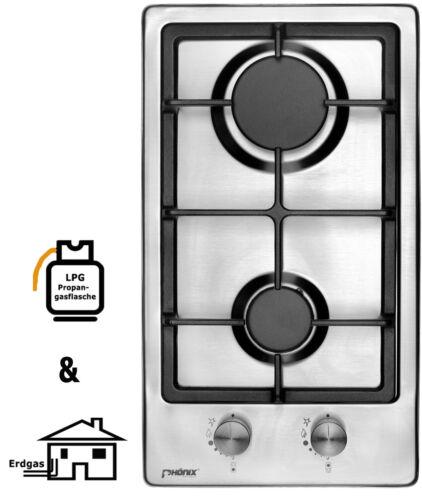 Phénix Domino-S Gaskochfeld Installation de cuisson inox réchaud 2 Brûleur autosuffisantes GPL