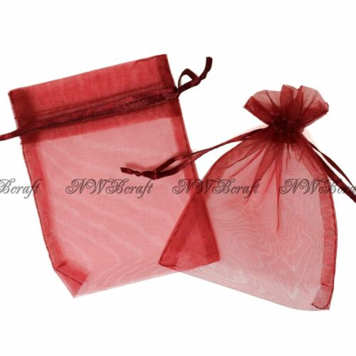 Dark Red Organza Gift Favour Bags Wedding Jewellery Drawstring Pouches
