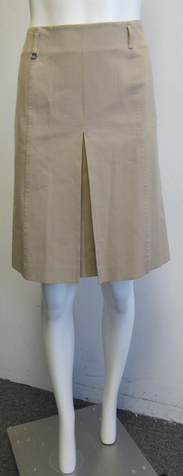 PRADA tan A-Line ingreened pleat skirt SZ 40