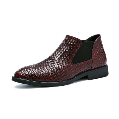 Mens Leather Oxfords Shoes Formal Pointed Business Dress Weave Chelsea Boots