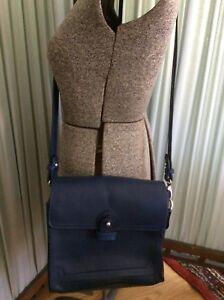 f490680988 Image is loading Zara-Basic-Navy-Blue-Buffalo-Leather-Square-Crossbody-