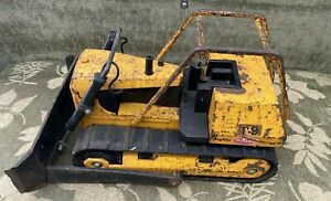 Vintage-Mighty-Tonka-T-9-Bulldozer-Pressed-Steel-Original-Orange-70s-RARE