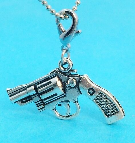 Gun Revolver Solid 2D Silver Plated Clip On Charm for Bracelet OR Keyring