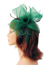 Large Emerald Green Mesh Flower Bow & Shaped Feather Hair Fascinator Headband