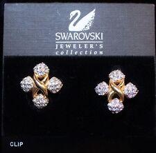 Vintage Swarovski Swan Crystal Maltese Cross Clip Earrings Hang Tag Card