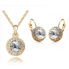 Luxury White & Gold Jewellery Set Circle Earrings & Necklace with Pendant S305