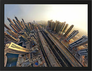 DUBAI-FISHEYE-VIEW-NEW-A3-FRAMED-PHOTOGRAPHIC-PRINT-POSTER