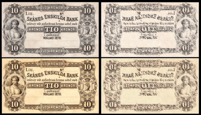 !COPY SWEDEN 50 KRONOR 1876 BANKNOTE !NOT REAL!