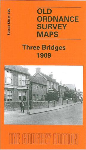 OLD ORDNANCE SURVEY MAP THREE BRIDGES 1909 HAZELWICK ROAD NORTH ROAD WORTH