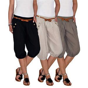 Damen Sommer Capri 3 4 Strand Boyfriend Pump Aladin Baggy Pluder ... aa2e92e5b7