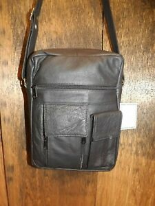 4d616a733 NEW Black Soft Leather 5 Pocket Unisex Crossbody Messenger Organizer ...