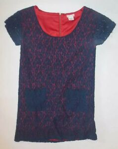 161b85391e7 COOPERATIVE WOMENS DRESS NAVY BLUE LACE WITH RED UNDER LINING BACK ...