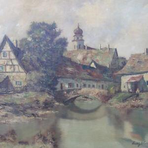 Klein-Ludwig-1915-Staedtchen-IDYLLE-Zwiebelturm-FACHWERKHAUS-Landschaft