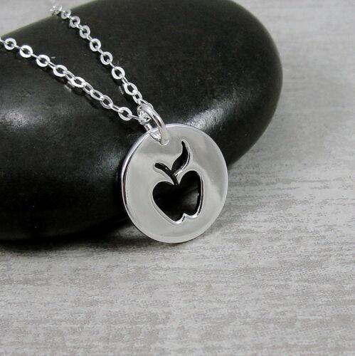 Argent Sterling 925 Apple Collier-Professeur Cadeau Bijoux-Apple Découpe Pendentif