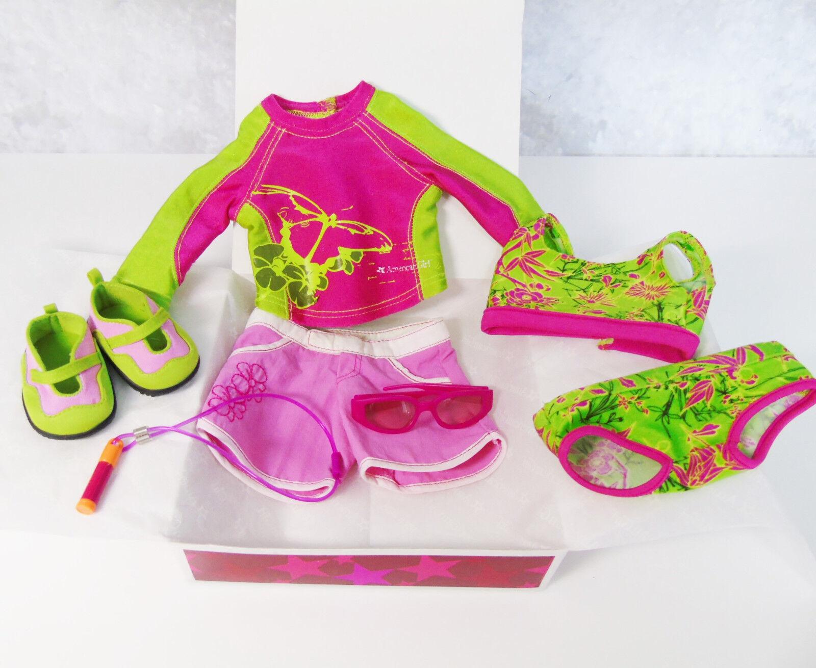 American Girl Puppe 2in1 Jess Kajak Outfit Badeanzug Top Schuhe Sonnenbrillen