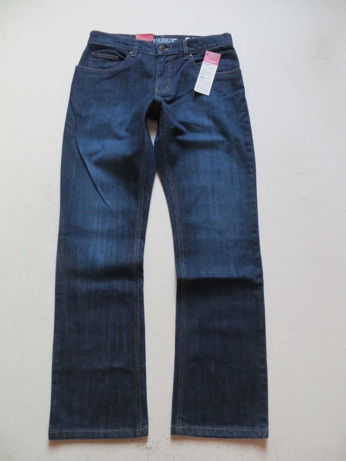 HERO by John Medoox BOSTON Stretch Jeans Hose W 33  L 32, DARK USED Denim, NEU
