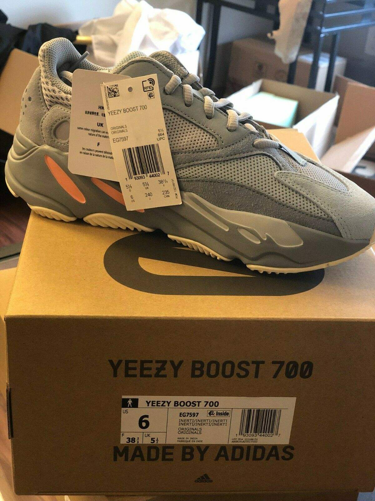 Authentic Adidas Yeezy Boost 700 Inertia Size 6 Brand New