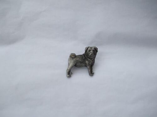 pug brooch pewter