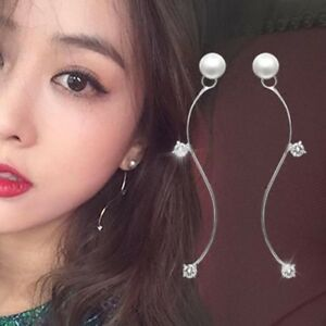Paire Mode Femmes Perle Strass Cristal Boucle d'oreille Longue Bijoux Cadeaux NF