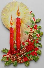 Glowing Candles Pine Cones Holly Glittered Christmas Ornament Greeting Card