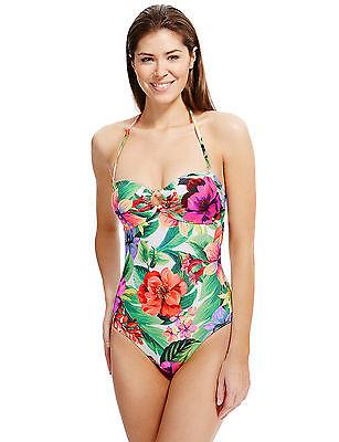 M/&S Bandeau Swimsuit UK 10 Secret Slimming Blue Black Floral Print BNWT