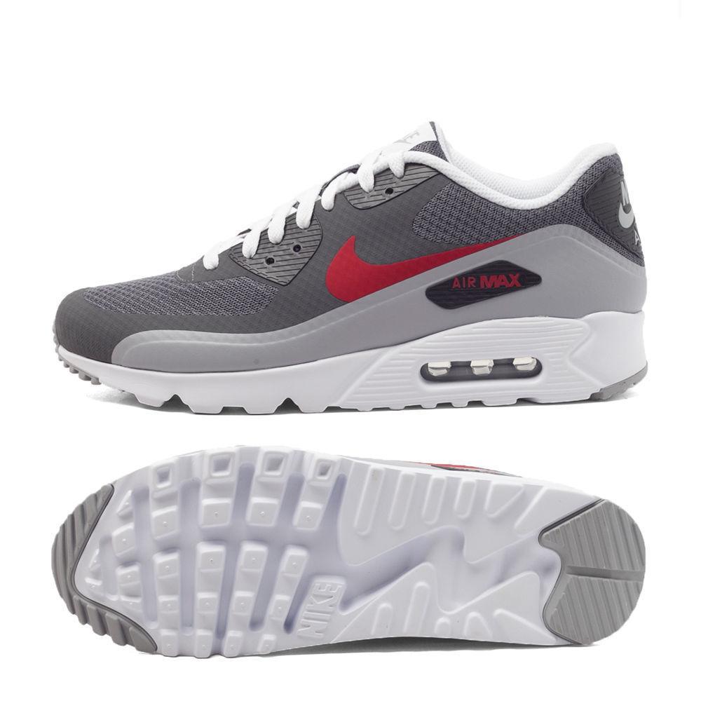 Nike Air Max 90 Ultra Essential 819474 006 Férfi Sz 11.5 DARK WOLF GREY GYM RED