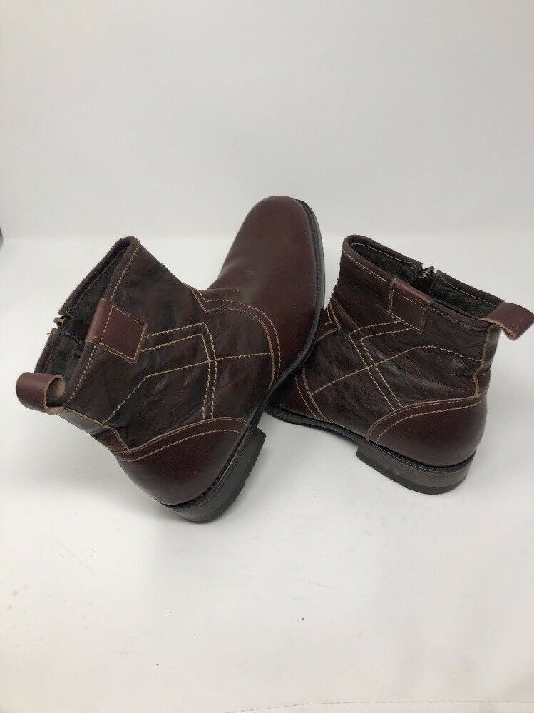 Steve Madden P- Dreem Brown Leather Side Zip Ankle Boots -- Mens Sz 10.5