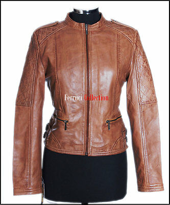 Electra Tan Waxed Ladies Biker Style Retro Vintage Real Lambskin Leather Jacket
