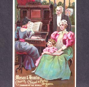 Antique-Mason-amp-Hamlin-Church-amp-Parlor-Organ-Victorian-Advertising-Trade-Card