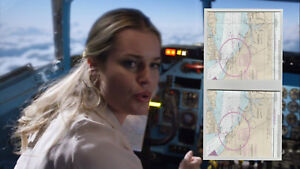 THE-LIBRARIANS-SCREEN-USED-EP-306-Set-of-2-Airplane-Cockpit-Maps-seen-with-Baird