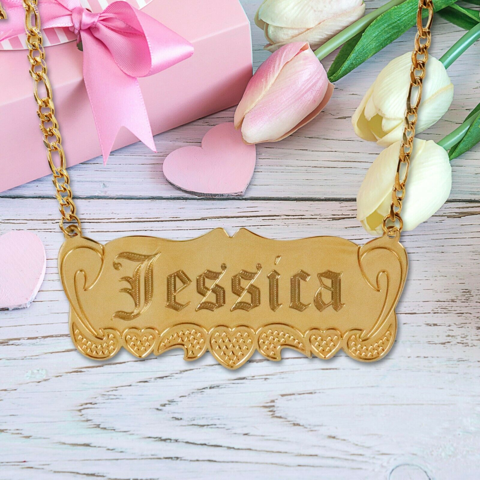 Personalized 14K Gold Plated Any Name Plate Script Chain Necklace 14 Styles