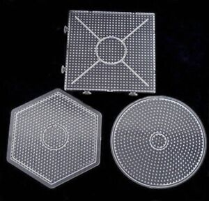 3x Clear Large Round 15cm Pegboard Peg Board for 5mm Perler Hama Fuse Beads