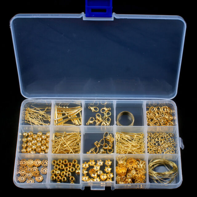 Hot Gold Plated Jewellery Making Starter Kits Beads Pliers Chain Cord Tools Set