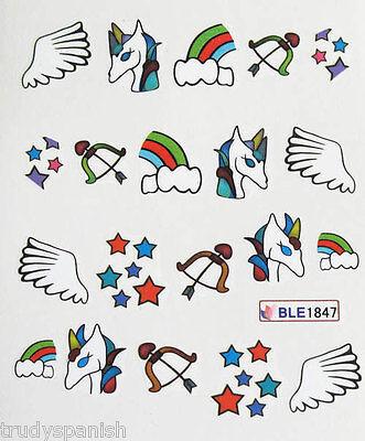 Nail Art Water decals Nail Stickers Nail Transfers Unicorns Stars Rainbow 1847