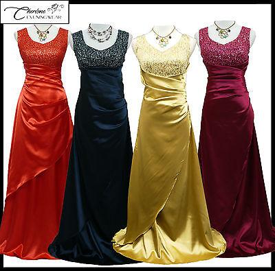 CHERLONE SATIN MANCHES LONG GLAMOUR MAXI PARTY PROM SOIR robe de 8-24