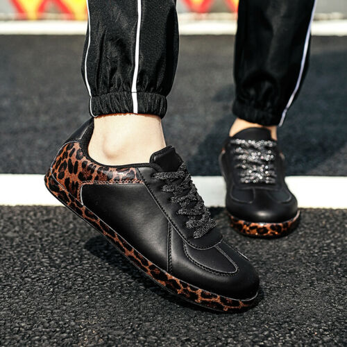Leather Solid Color Leopard Fashion Women Shoes Casual Trainers Athletic Sport