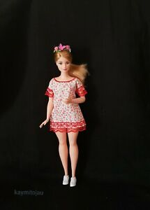 New-Curvy-fashion-floral-red-lace-dress-for-Your-Curvy-Barbie-Doll-Au-Made