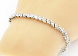 925-Sterling-Silver-Marquise-Cut-Cubic-Zirconia-Tennis-Bracelet-B5972