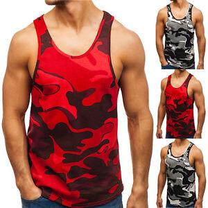 BOLF-Uomo-T-Shirt-Tee-Senza-Maniche-Scollo-Rotondo-Slim-Fit-Grafico-3C3-Camo